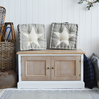 Canterbury white storage bench