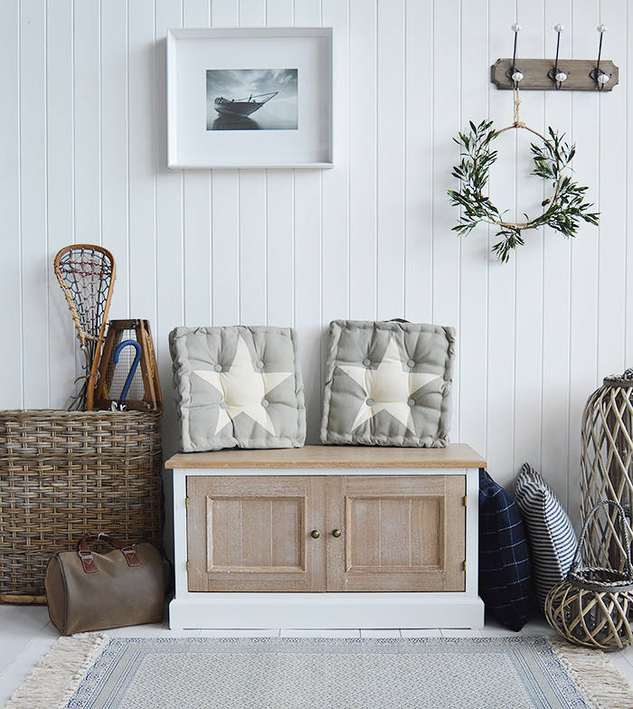 White Hallway furniture, The Canterbury Shoe Storage bench from The White Lighthouse