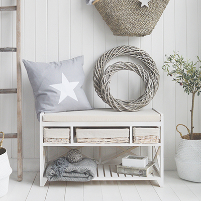 Cape Cod white wash storage hall bench