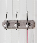 Triple coat hook in grey wash