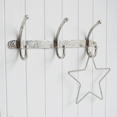 Silver Coat Hooks for New England style hallway furniture