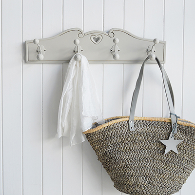 Hallway Coat storage solutions. Grey coat rack and hooks