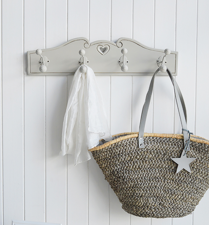 Grey Hearts Coat Rack - Simple Stylish Coat Storage for Hallway. The White Lighthouse Furniture for Coastal, New England, Country and Scandinavian Style Home Interiors