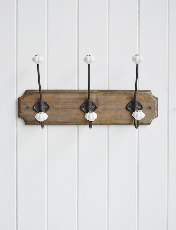 Hall furniture and accessories for the home. Richmond three double hooks coat rack for the hall. Coastal, Country and white New England furniture for the hallway, living room, bedroom and bathroom from The White Lighthouse Home Interiors