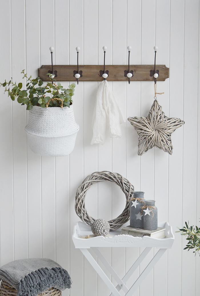 Richmond Five double hooks coat rack for the hall. Coastal, Country and white New England furniture for the hallway, living room, bedroom and bathroom