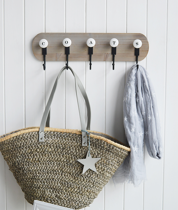 COATS Coat Rack - Simple Stylish Coat Storage for Hallway. The White Lighthouse Furniture for Coastal, New England, Country and Scandinavian Style Home Interiors
