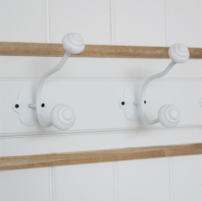 Norfolk coat rack for Coastal and white hallway furniture