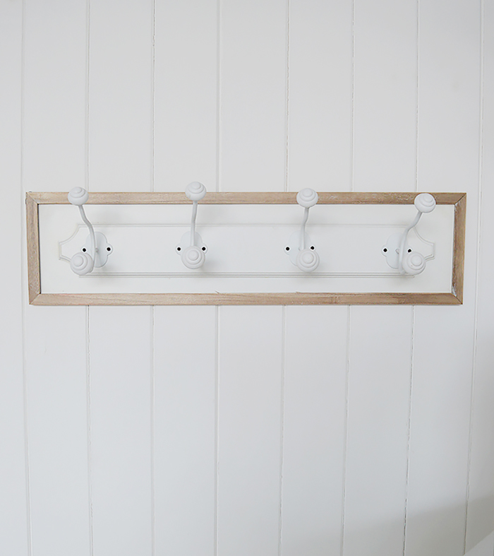 Coat rack with 4 double hooks for coat storage in hallway furniture