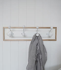 Coat rack with 4 double hooks for coat storage in hallway furniture from The White Lighthouse Furniture