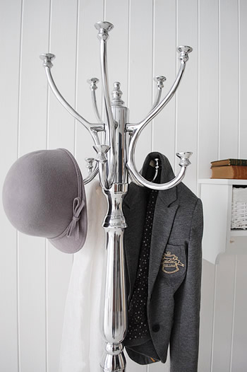 A close image to show the Bentwood style hooks on this traditional style silver coat stand for hall