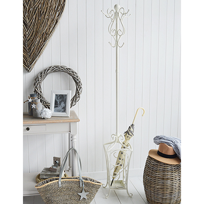 Stamford antiwue white coat and umbrella stand for hallway coat storage