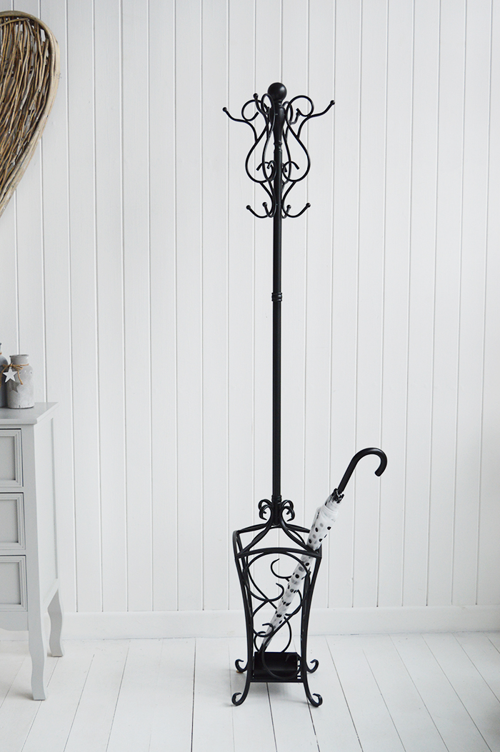 Stamford black coat stand for hallway coat storage hall furniture