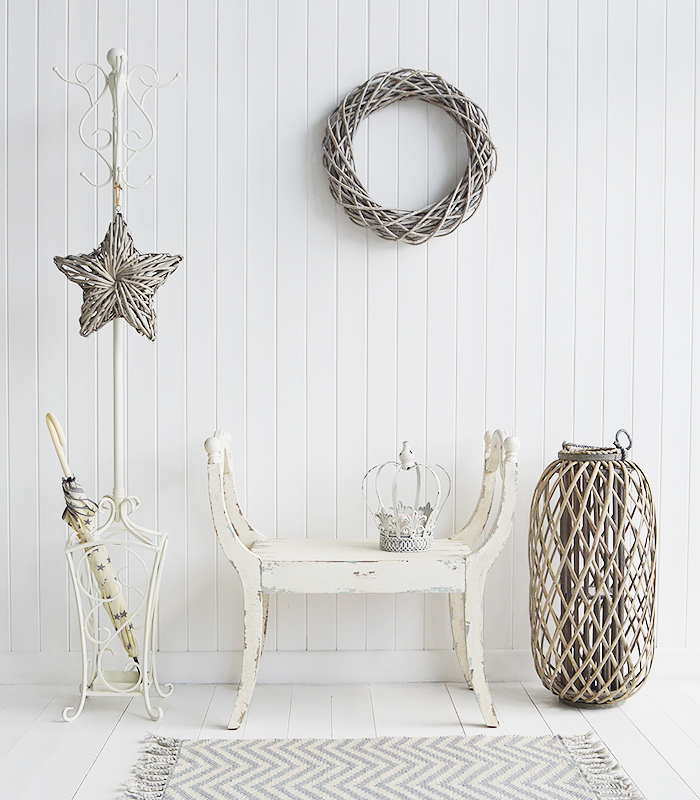 Tranquil and relaxing hallway furniture in natural tones. The Stamford coat stand with the Providence seat, grey willow star, wreath and lantern and to finish it off... our star Umbrella