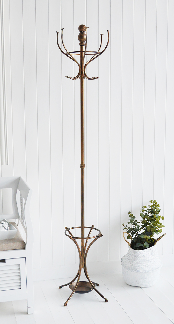 Traditional copper coloured hat and coat stand for coat hall storage from The White Lighthouse