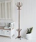 Copper coat stand and hat rack for stylish and luxurious hallway coat storage