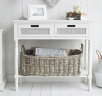 Colonial White Furniture - White Console with Drawers