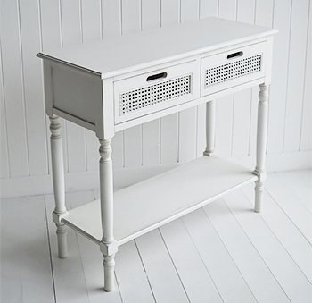 Colonial White Console Table with drawers and shelf