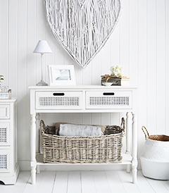 Colonial White hall table with drawers and shelf for hallway furniture storage