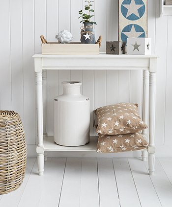Colonial white console table with shelf for hallway furniture from The White Lighthouse