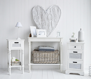 White furniture from The Colonial Range for white bedroom, living room and hallway furniture