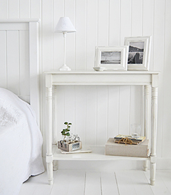 Colonial white bedroom furniture, perfect bedside for large white bedrooms in bothe New England Country and Coastal style