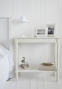 White colonial white large bedside table with bottom shelf