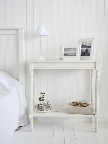 Large bedside table from The Colonial White range of white bedroom furniture