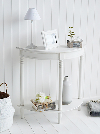 White half moon console still gives table top for display