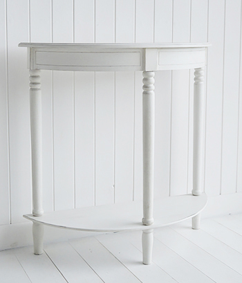 Colonial White hall Furniture - hal moon console table