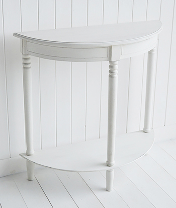 White Small Hallway half moon console table with botton shelf