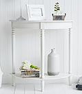 White Colonial Hall furniture, a half moon console table at 30cm deep for decorating narrow entry way spaces