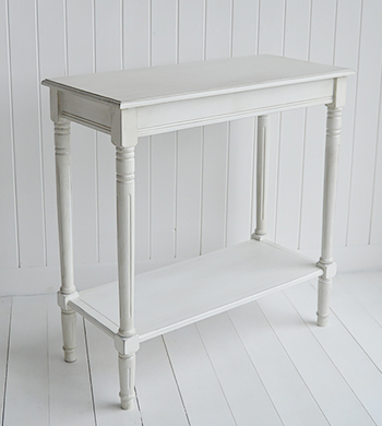 Colonial White Hallway - White Console Table Furniture. Coastal, Country, New England, White and Scandinavian furniture and home interior design