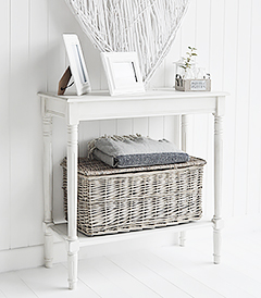 Simple affordable white furniture. Colonial white hallway furniture, perfect console table with a shelf for small halls. Ideally suited for New England interiors in country, coastal and city homes