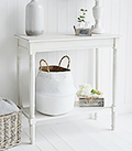 Cove bay hallway furniture small white console table for coastal New England home interiors