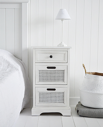 Colonial White New England Coastal Bedroom Furniture - Bedside table with drawers