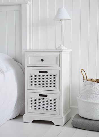 Colonial white lamp bedside cabinet with drawers for white bedroom furniture decorating ideas