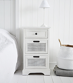 Colonial White bedroom furniture, white bedside lamp table with drawers, perfect storage for coastal and country bedrooms