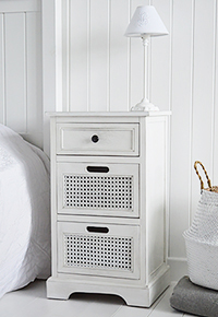 Colonial white bedside table with three drawers for bedroom storage