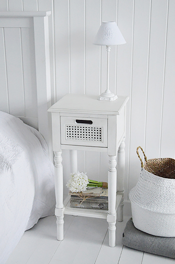 White bedside table for white bedroomfurniture