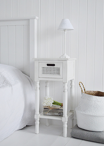 Colonial white furniture, the small bedside table with a shelf