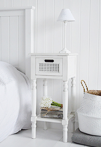 Colonial White narrow bedside with shelf and drawer