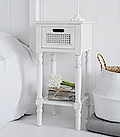 Colonial White small lamp table with a drawer and shelf for living room beach furniture storage