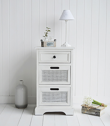 Colonial White Furniture - Lamp Table with drawers. Coastal, Country, New England, White and Scandinavian furniture and home interior design