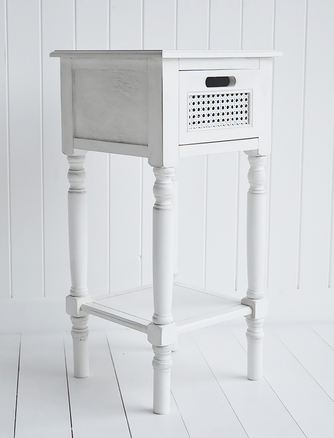 Colonial white furniture, a lamp table for hallway and living room and a bedside table with shelg and drawer for bedroom furniture from The White Lighthouse