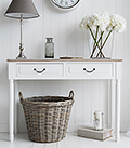 Suffolk white console table with drawers