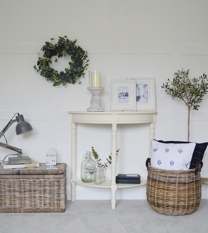 very realistic, natural and beautiful looking Eucalyptus wreath with twigs and little white flowers for adding greenery to your home. 							  Ideal as a centre piece on a table or can be hung from a wall