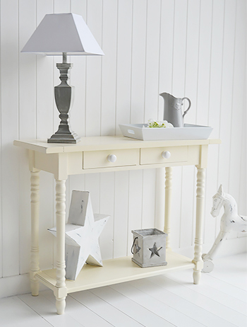 Long beach cream console table for hall furniture large - White hall table uk ...