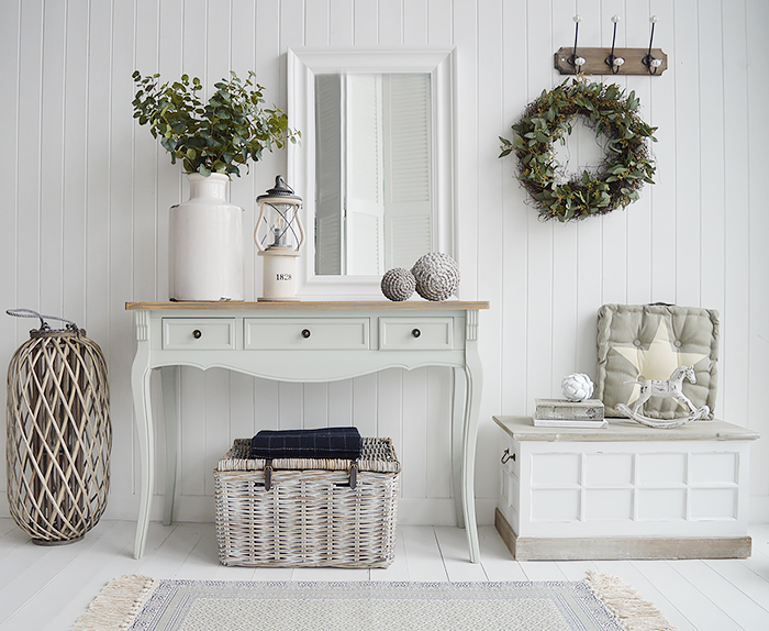 Oxford grey console hall table for New England Hallway furniture in coastal, country and city homes with free UK delivery