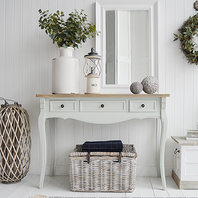 Oxford grey large console table with drawers