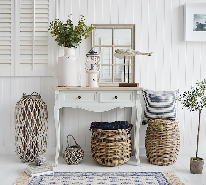 A grey console table with drawers, the Oxford hall table is an excellent choice with 2 drawers from The White Lighthouse range of large hallway furniture. Coastal, country, white and New England Furniture delivered to UK
